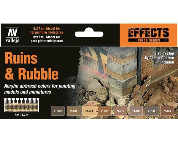 Vallejo Model Air Ruins & Rubble 8 Colour Acrylic Paint Set