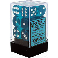CHX 23615 Translucent 16mm d6 Teal/white (12)
