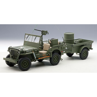 Autoart 1/18 Willys Jeep Army Green With Trailer Acces.
