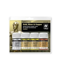 Vallejo 70199 Metallic Set Gold, Silver & Copper 4 x 35ml Acrylic Paint Set
