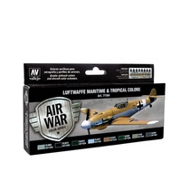 Vallejo Model Air Luftwaffe Maritime and Tropical Colors Colour Acrylic Airbrush Paint Set