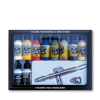 Vallejo Model Air Basic colors + airbrush 10 Colour + Airbrush Set