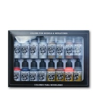 Vallejo Model Air Metallic Effects 16 Colour Acrylic Airbrush Paint Set