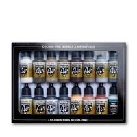 Vallejo Model Air Weathering Set 16 Colour Acrylic Airbrush Paint Set