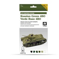 Vallejo Model Air AFV Set Verde Ruso ABO 6 Colour Acrylic Paint Set