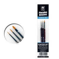 Vallejo Starter Set (3 Pcs.)Round No.S 1 Y 3/0-Flat No.4 Paint Brush Set