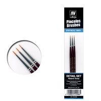 Vallejo Toray Detail Set (Sizes 4/0, 3/0 & 2/0) Paint Brush Set