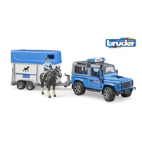 Bruder 1/16 Land Rover Defender Police vehicle w/horse trailer