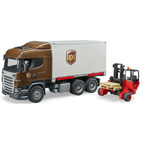 Bruder 1/16 Scania R-Series UPS Logistics Truck With Forklift 03581
