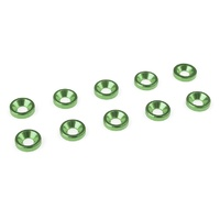 Team Corally Aluminium Washer - for M3 Flat Head Screws - OD=8mm - Green - 10 pcs