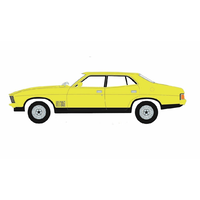 DDA 1/18 Yellow 1974 Ford Falcon XBGT 4 Door Sedan (Opening front doors) 013 Diecast