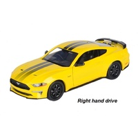 Diecast Distributors 1/24 Yellow 2018 Ford Mustang GT Right Hand Drive Diecast Car