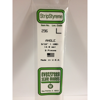 "Evergreen White Polystyrene Angle 0.188 x 14"" / 4.8mm x 36cm (3)"