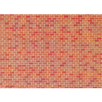 Faller HO Wall Card Red Brick 25 x 12.5cm
