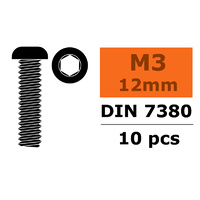 G-Force Socket Low Round Head Screw M3x12 Steel (10pcs) GF-0103-004