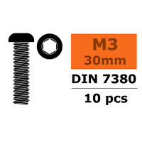 G-Force Socket Low Round Head Screw M3x30 Steel (10pcs) GF-0103-008