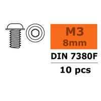 G-Force Socket Low Round Flanged Head Screw M3x8 Steel GF-0104-002