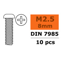 G-Force Pan Head Screw M2.5x8 Galvanised Steel (10pcs) GF-0170-005