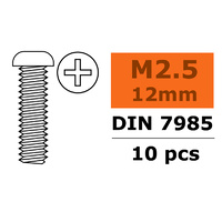 G-Force Pan Head Screw M2.5x12 Galvanised Steel (10pcs) GF-0170-006