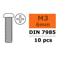 G-Force Pan Head Screw M3x6 Galvanised Steel (10pcs) GF-0170-007