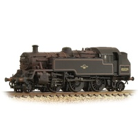 Graham Farish N BR Standard 3MT Tank 82029 BR Lined Black (Late Crest) - Weathered