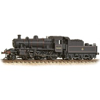 Graham Farish N LMS Ivatt 2MT 46460 BR Lined Black (Early Emblem) - Weathered