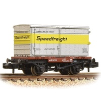 Graham Farish N Conflat Wagon BR Bauxite (Early) With 'Speedfreight' BA Standard Container - Includes Wagon Load
