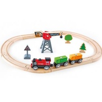 HAPE Cargo Delivery Loop Wooden Railway Set 19pce