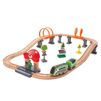 HAPE Solar Powered Circuit Wooden Railway Set 37pce