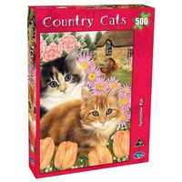 Holdson 500pc Country Cats Springtime Pals Jigsaw Puzzle