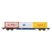 Hornby OO Tiphook, KFA Container wagon, 93437, with 3 x 20' tanktainers; Contank/RMI/Tate & Lyle - Era 11