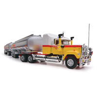 Highway Replicas 1/64 Tanker Road Train (Shell) - Prime Mover, Dolly and 2 x Tanker Trailers Diecast