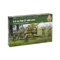 Italeri 1/56 8.8 cm Flak 37 with crew New Mould Plastic Kit
