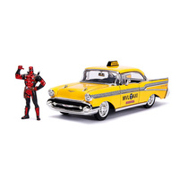 Jada 1/24 Deadpool w/1957 Chevy Bel Air Taxi Movie Hollywood Rides 30290 Diecast