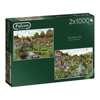 Jumbo 1000pc Village Life 2 X Jigsaw Puzzle