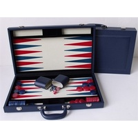 Dal Rossi Backgammon 18in With Imitation Leather Case Blue