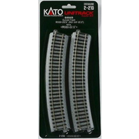 Kato HO Unitrack Radius 550mm, 22.5 Degrees 4pk