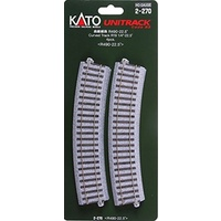 Kato HO Unitrack Radius 490mm, 22.5 Degrees 4pk