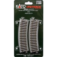Kato HO Unitrack Radius 370mm, 22.5 Degrees 4pk
