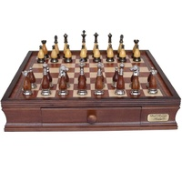 "Dal Rossi Italy Staunton Metal/Wood Chess Set with Drawers 16"" (L2236DR & L2244BOX)"