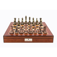 "Dal Rossi Italy Copper / Bronze Chess Set on Walnut Shiny Finish Chess Box 20"" with compartments (L3223DR & L2255DR)"