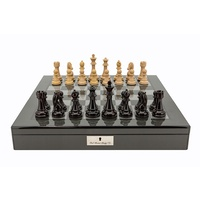 "Dal Rossi Italy Dark Red and Box wood Finish Chess Set on Carbon Fibre Shiny Finish Chess Box 20"" with compartments (L3225DR & L2266DR)"