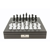 "DAL ROSSI ITALY CARBON FIBRE SHINY FINISH CHESS BOX 16""� WITH BLACK AND WHITE CHESS PIECES"