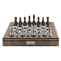 "Dal Rossi Italy Chess Box Mosaic Finish 20"" with compartments with Silver & Titanium Finish 110mm Chess pieces"