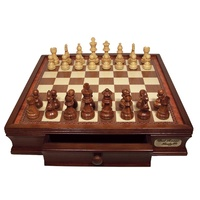 Dal Rossi Chess Set 85mm Walnut Weighted Pieces 16 L2204DR