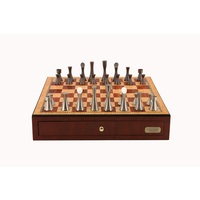 "Dal Rossi Italy, Contemporary Chess Set with drawers 18"" (Red Mahogany Finish) with Contemporary Pewter Chess Pieces (L2224DR & L228MDRBOXONLY)"