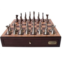 "Dal Rossi Staunton Metal Chess Set with Drawers 18"" (Walnut Finish) (L2234DR & L2277WDRBOXONLY)"