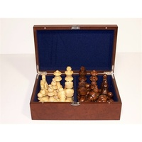 "Dal Rossi Italy Chess Pieces - French lardy, Boxwood and Sheesham wood 95mm ""Double Weighted"" plus Storage Box (L2246DR & L3020DR)"