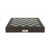 "Dal Rossi Italy Carbon Fibre Shiny Finish Chess Box 20"" with compartments"