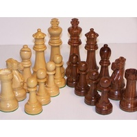 Dal Rossi Chess Pieces - French lardy, Jumbo Boxwood/Sheesham 150mm Wood Double Weighted